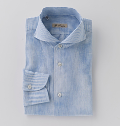 ONE PIECE COLLAR LINEN STRIPE SHIRTS