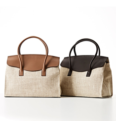 SILK CALF×LINEN SMALL FRAP TOTE BAG