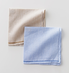 COTTON LINEN TRIMMING POCKET SQUARE