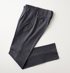 1PLEATS WOOL PINHEAD PANTS