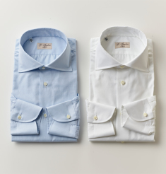 WIDE COLLAR COTTON TWILL SHIRT